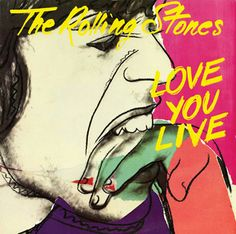 """Andy Warhol designed The Rolling Stones """"Love You Live"""" record sleeve for their double live album featuring performances from the previous three years. Warhol was apparently dismayed to see that Jagger had added pencil smears to his design. The Rolling Stones, Rolling Stones Album Covers, Rolling Stones Albums, Greatest Album Covers, Classic Album Covers, Music Album Covers, Rock And Roll, Pop Rock, Mick Jagger"""