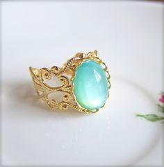 Turquoise Ring Seafoam Green Blue Ring Gold Ring by Jewelsalem, $12.00