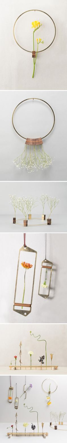 神户艺术工科大学的学生Nobu Miake的设计作品,用来展示干花的器物。