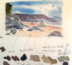 Experimenting with neutral colours harmonious colour combinations in this small watercolour sketch of rocks and seascape. Watercolor Paintings Nature, Watercolor Ocean, Watercolor Painting Techniques, Watercolour Tutorials, Watercolor Sketch, Seascape Paintings, Watercolours, Beach Sketches, Sea Colour