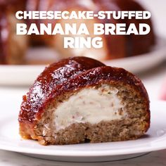 Cheesecake-Stuffed Banana Bread Ring Recipe by Tasty Banana Recipes, Cake Recipes, Dessert Recipes, Just Desserts, Delicious Desserts, Yummy Food, Delicious Cookies, Food Cakes, Bundt Cakes