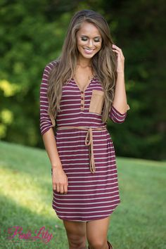 Take My Chances Striped Dress Burgundy