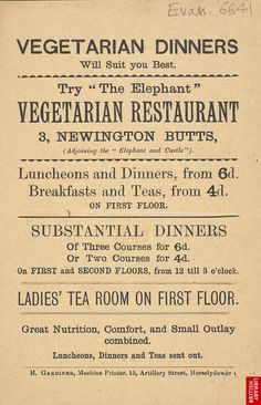 Vegetarian restaurant menu, 1889  The British Library, reference # Evan.6641