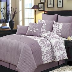 Modern Floral Plum Floral Pleated Comforter and Shams Set with Decorative Pillows and Bed Skirt. The complete bedding set includes comforter, 4 pillow shams, 2 decorative pillows and tailored bed skirt. Plum Bedding, Purple Bedding Sets, Queen Comforter Sets, Luxury Bedding Sets, Purple Comforter, Luxury Linens, King Comforter, Lavender Comforter, Cotton Bedding