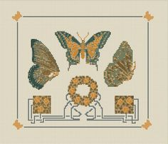 Art Deco Cross Stitch Pattern, Butterfly Tile Instant Digital Download Counted Cross Stitch Chart, Embroidery Pattern, Needlework Pattern