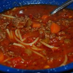 "I really don't know the true name of this soup. My mom used to make this when I was a kid. She made it for my son and he started calling it ""Granny Soup"" when he would ask for it and the name stuck. Chili Recipes, Crockpot Recipes, Soup Recipes, Great Recipes, Cooking Recipes, Favorite Recipes, Recipies, Casserole Recipes, Spaghetti Soup"