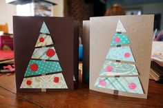 These pretty paper trees. | 23 DIY Christmas Cards You Can Make In Under An Hour