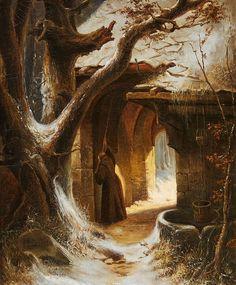Carl Hilgers Winterlicher Klosterhof mit Mönch.jpg