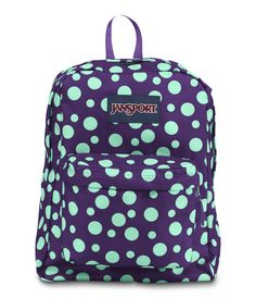 Jansport Superbreak Backpack - Purple Night Mint Green Sylvia Dot Available  at www.canadaluggagedepot. Cute BackpacksGirl BackpacksSchool ... a1290a089b683