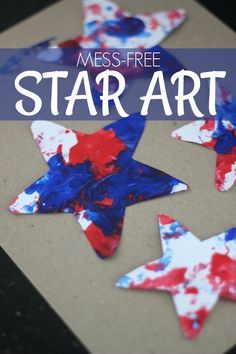 Easy Mess-Free Patriotic Star Painting for Kids kids' crafts 4th July Crafts, Fourth Of July Crafts For Kids, Patriotic Crafts, Fouth Of July Crafts, Star Painting, Painting For Kids, Art For Kids, Children Painting, Art Children