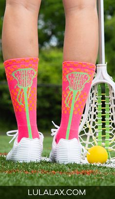 We're feeling the tropical vibes with our colorful pink, green and orange woven lacrosse socks! The cozy, mid-calf style is a lax girl favorite. These stylish socks make a fun and easy gift for lacrosse girls!