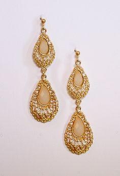 Gold Double Teardrop & Stone Earring #privategallery #PGWishlist