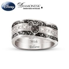 """Mickey Mouse """"Hidden Message"""" Three Band Engraved Ring"""