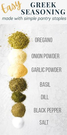 This easy Greek seasoning blend is made with simple pantry staples and is perfect for sprinkling on fish, chicken, and veggies! Gluten-free, clean eating, vegan and paleo-compliant. #sweetpeasandsaffron #mealprep #greek #seasoning #rub #spiceblend #spice #paleo #whole30 #cleaneating #glutenfree #vegan