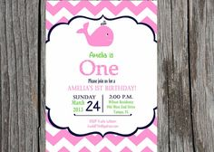 Whale Birthday Party Invitation - Whale Invitation -DIY Printable - Available for Girl or Boy