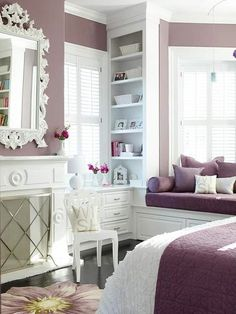 Really love the color of this room - and the window seat!