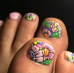 Pedicure Designs, Pedicure Nail Art, Toe Nail Designs, Toe Nail Art, Manicure And Pedicure, Pretty Toe Nails, Cute Toe Nails, Hair And Nails, My Nails