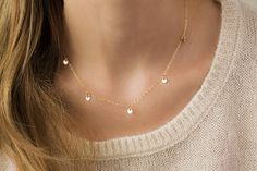 Gold Discs Necklace, mini discs necklace, 14k gold filled necklace gold coins…