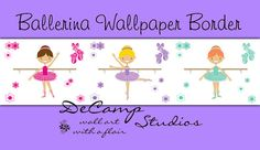 Dancing ballerina wallpaper border wall decals for baby girl nursery or children's bedroom decor. Beautifully added flowers and ballet shoes in purple, pink, and blue #decampstudios