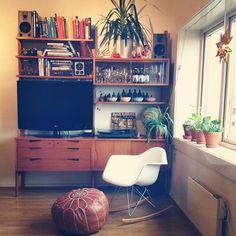 This is my home - #eames #Rival #teak #shelf #norwegian #scandinacvian #books #moroccan #puff #cathrineholm #Bowls #glasses #plants #clock #turntable #globe #matryoshka dolls #60's #60s
