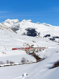 The Glacier Express definitely steals the show with some of the most beautiful scenery of the Swiss Alps imaginable. Your journey will take you from Zermatt, located at the summit of the Matterhorn to St. Moritz, in just under eight hours. Once you're on the train, you'll pass by gorges, castles, UNESCO World Heritage sites, small alpine towns, lakes, and of course, snow capped mountains.