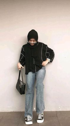 Hijab Style Dress, Casual Hijab Outfit, Casual Outfits, Ootd Hijab, Denim Ootd, Ootd Fashion, Fashion Outfits, Foto Instagram, Lemon