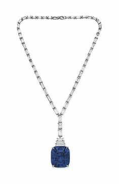 An exquisite sapphire and diamond pendant necklace.