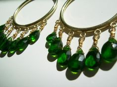 mermaid hoops dripping with rare chromium diopside briolettes, 24k gold fill.  adove fine jewelry.