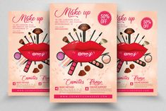 Make Up/Cosmetic Flyer Template Advertising Flyers, Creative Photoshop, Print Templates, Flyer Template, Flyer Design, Design Bundles, I Am Awesome, Product Launch, Make Up