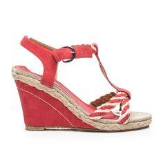 Parádny textilné sandálky na kline červené - 65055R