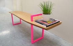 Contemporary Wood Metal Bench by StuffStudios on Etsy, $800.00