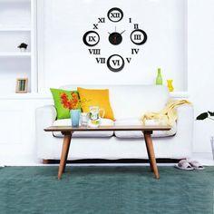 12.5cm.números romanos DIY 3D reloj de pared redondo decoración del hogar espejo de acrílico