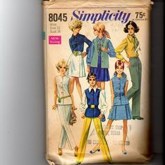 Vintage Simplicity Misses' Skirt Blouse Pants and Jacket Pattern 8045