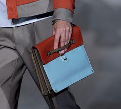 firebrick/sky blue, colour block, square clutch with side straps ...  reason to raid the boy's closet ...    valentino-  pitti uomo collection,   s/s 2013