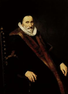 Cornelis van der Voort | Portrait of Cornelis Pietersz Hooft, Cornelis van der Voort, 1622 | Portret van Cornelis Pietersz Hooft (1546-1626), burgemeester van Amsterdam. Kniestuk, zittend in een leunstoel, in een met bont gevoerde mantel. Pendant in het Amsterdams Historisch Museum (A23544)