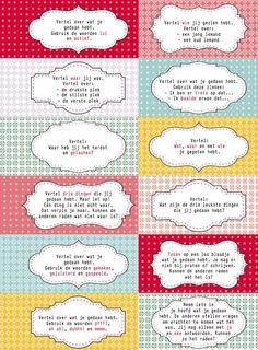 Interviewkaartjes: om te kletsen over het weekend of over de vakantie. Voor meer interactie, meer spreektijd voor de verlegen kinderen en vooral... meer plezier...http://www.malmberg.nl/juf/Kaartjes/archief-1/Interviewkaartjes.htm: