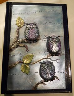 Polymer Clay OWL book cover notebook by ChristineSummersArt