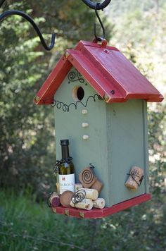 Birdhouse Handmade Wine Vintage Cork Decorative Bird House Patio Outdoor Living Woodworking Birdhouses Yard Art Home Accent Free Shipping via Etsy