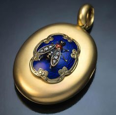 Antique Victorian Gold Enamel Diamond Novelty Locket Pendant from romanovrussia on Ruby Lane Victorian Gold, Victorian Jewelry, Gothic Jewelry, Antique Jewelry, Vintage Jewelry, Vintage Rings, I Love Jewelry, Fine Jewelry, Jewelry Stand