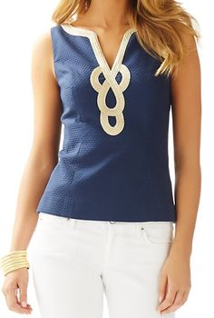 Lilly Pulitzer Janice Sleeveless Top in True Navy