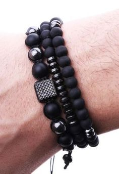 La Pescara - Özel Tasarım Zirkon Motifli Örme Erkek Bileklik BLK1133 #men'sjewelry