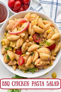 BBQ Chicken Pasta Salad recipe from RecipeBoy.com #bbq #barbecue #chicken #pasta #salad #recipe #RecipeBoy Side Dish Recipes, Dinner Recipes, Side Dishes, Picnic Recipes, Potluck Recipes, Fall Recipes, Chicken Pasta Salad Recipes, Gnocchi Recipes, Chicken Meals