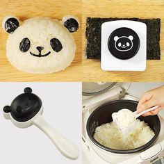 1 panda head-shaped rice mold, making adorable panda head shape. The rice mold is easy to use as it has a built-in handle.  It also comes with  a Deluxe panda face nori puncher  that can be used to cut seaweed nori out to decorate on top of rice.  This set is another great bento accessory and cute cooking tool to be added to your collection