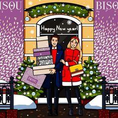 New Year Mood☺️Новогодняя открытка, созданная для  #bisoubyme_moscow❄️❄️❄️ #fashionillustration #2012