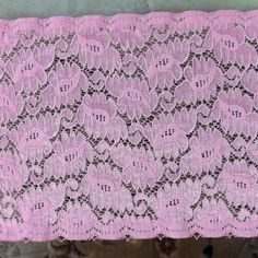 15 Yards Stretch Pink Floral Scalloped Lace 6 1/4' Wide -- See this great product.