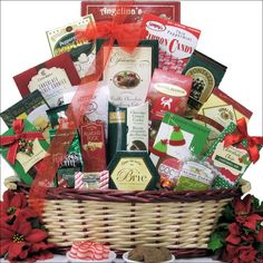 When visions of sugarplums dance through their heads this holiday season, they may just be thinking of the 'Tidings of Joy' large gift basket. This impressive gourmet gift contains a delectable assortment of cheese, crackers, nuts, sweets and more.