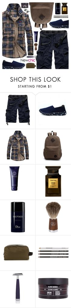 """Newchic style - Man's fashion"" by mymilla ❤ liked on Polyvore featuring ChArmkpR, Versace, Tom Ford, Christian Dior, Prospector Co., Dolce&Gabbana, Jack Black, Blind Barber, Bugatchi and men's fashion"