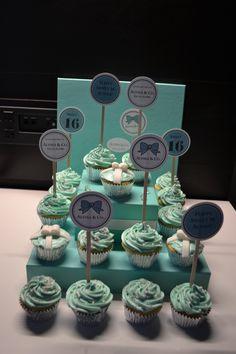 "Sweet 16 ""Alyssa & Co."" Cupcakes - Tiffany & Co. theme - custom made cupcake toppers"