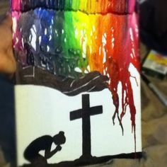 Crayon melting on canvas