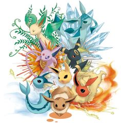 The normal one, and the 7 elemental evolutions; Grass, Ice, Physic, Dark, Water, Electric and Fire.